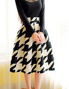Women's+Casual+Micro+Elastic+Medium+Knee+length+Skirts+(Cotton+Blends)+–+CAD+$+20.84