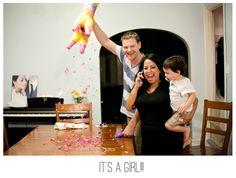 Gender reveal idea, piñata gender reveal, gender reveal party