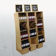 wood crate wine bottle display liquor stores  BINSTAND3 - Set of 3 Wood Wine Bottle Crate Displays - Wide Color Choice!