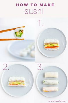 Did you know that you can make homemade sushi rolls with rice paper? This vegan recipe is for all sushi lovers, who do not like the taste of seaweed (also called nori). Let me show you how to make sushi rice and rolls at home. Vegetarian Sushi Rolls, Sushi Roll Recipes, Veggie Sushi, Vegan Vegetarian, Sushi Food, Sushi Sushi, Vegan Rice Paper Rolls, Rice Paper Recipes, Recipe Paper