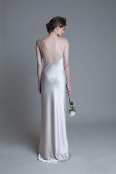 Back view of the ivory Iris slip wedding dress by Halfpenny London