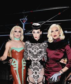 Queens Peal, Violet Chachki, and Miss Fame at the Mui Mui party in Paris