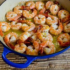 Low-Carb and Easy Garlic and Lemon Shrimp make a great appetizer or light main dish for New Years or a Superbowl Party.  These can be prepared ahead and then just take a few minutes to cook after the guests arrive.  [from KalynsKitchen.com] #LowCarb #PartyFood