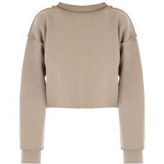DASH My Mum Made It Raw Detail Crop Sweater (£34) ❤ liked on Polyvore featuring tops, sweaters, brown crop top, cut-out crop tops, brown tops, mock neck crop top and brown sweater
