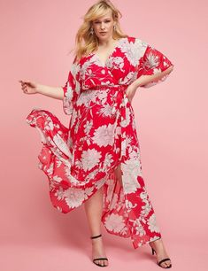 38c8421537 NEW LANE BRYANT PLUS SIZE RED FLORAL FAUX SURPLICE MAXI DRESS SZ 26   fashion