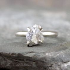 Raw Diamond Ring  Sterling Silver  Engagement Ring  by ASecondTime, $749.00