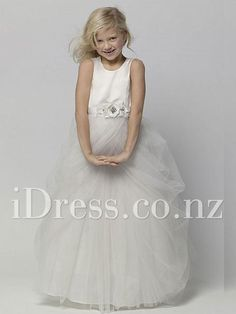 Beautiful--ball gown floor length tulle skirt sleeveless crew neck flower girl dress