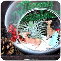 Woodland Animals Christmas Ornament Wintery Snow Terrarium - Glass Round Globe Tillandsia Air Plant ~ Holiday Decor ~ Home Decor ~ Gift Idea