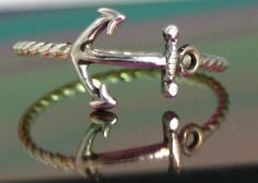 sterling silver anchor ring silver anchor by CapturedIllusions, $30.00