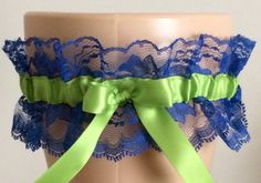 Apple Green and Blue Lace Wedding Garter by WeddingGarterStore
