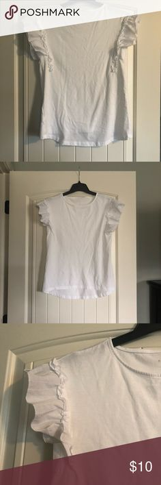 A New Day White Ruffle Sleeve Blouse Excellent used condition. Worn once. Accidentally put in the dryer and no longer fits as loose-fitting as I'd like. If you want a flowy fit, assume more like an XS. a new day Tops Blouses