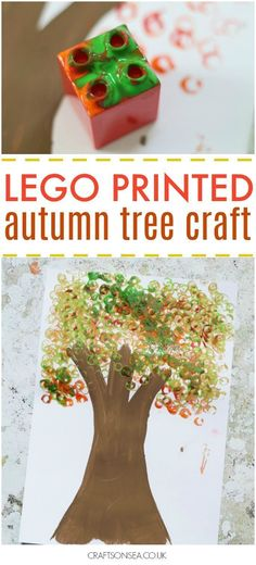 Lego Autumn Leaves Craft This fun autumn leaves craft uses lego to make an easy autumn tree. Perfect for preschoolers or kids who love to make art! Autumn Activities For Kids, Fall Preschool, Fall Crafts For Kids, Toddler Crafts, Preschool Crafts, Fun Crafts, Harvest Crafts For Kids, Autumn Art Ideas For Kids, Room Crafts