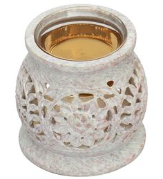 """""""Floral Delights"""" #Wholesale #Handmade #Soapstone Aroma #OilBurner / Warmer / #TeaLightHolder with a Glass Bowl – #HomeDécor Accessories"""