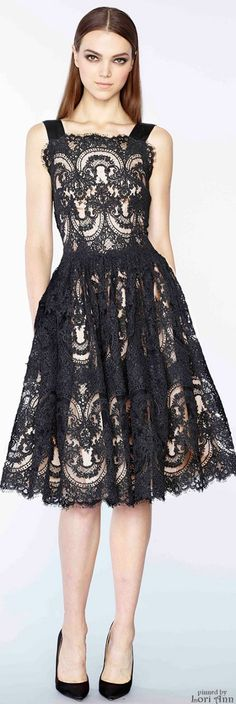 Marchesa Pre-Fall 2015. Classic for black tie events, lace dress is timeless...