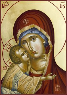 Icon Painting - Theotokos by Julia Bridget Hayes