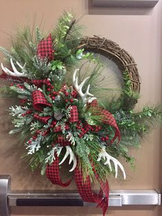 Items similar to Winter Antler Wreath on Etsy Holiday Wreaths, Winter Wreaths, Spring Wreaths, Summer Wreath, Diy Wreath, Tulle Wreath, Burlap Wreaths, Wreath Making, Grapevine Wreath
