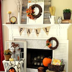 Fall mantel - loved decorating the hearth this year too.