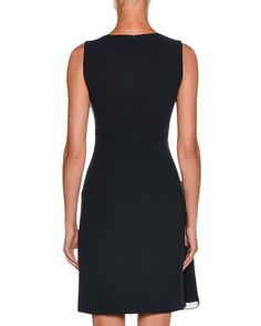 V-Neck Sleeveless Crepe Short Dress w/ Chiffon Ruching