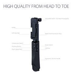 Selfie Stick Monopod Aluminium Every Where Nice Easy Fun Memory Bluetooth Black 6
