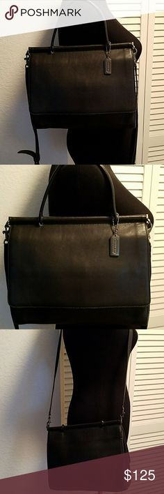 Rare COACH LEATHER SATCHEL MADE IN TURKEY Pre owned in great condition but does show light  wear.  Clean inside. Leather looks good. Black. Corners are  worned some. Coach Bags