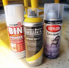 We used our go-to spray painting formula. Three products, easy!!    Zinsser Primer, Liquitex in Cadmium Yellow Medium Hue, and Krylon Lacquer. And because all of these products are the bees knees, we ended up doing a single coat of primer, a coat and a half (whatever that means?) of color, and two coats of lacquer. I can't possibly brag