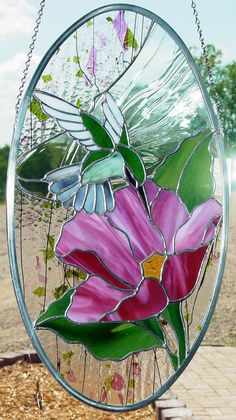 Hummingbird and Flower Stained Glass Panel Suncatcher
