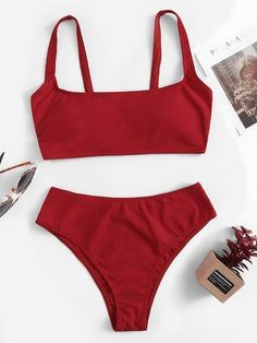 Shop Scoop Neck Top With High Waist Bikini Set online. SheIn offers Scoop Neck Top With High Waist Bikini Set & more to fit your fashionable needs. Cute Swimsuits, Cute Bikinis, Vintage Swimsuits, Women Swimsuits, Bikini Modells, Sexy Bikini, Bikini Tops, Sporty Bikini, Bikini Girls