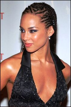 Alicia Keys Cornrow Braid Hairstyle   HAIR   Pinterest   Einfache Frisuren