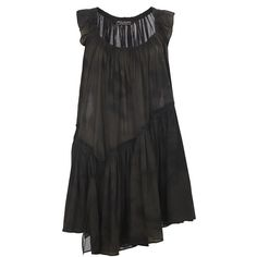 See this and similar AllSaints day dresses - Colour: Bitter Overdye Voluminous, sleeveless dress made from specially developed cotton fabric with a tiny check d...