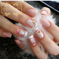 New Fabulous Free Winter Nail Art Ideas 2020 Beautiful Nail Designs, Beautiful Nail Art, Cute Nails, Pretty Nails, Hair And Nails, My Nails, Flower Nails, Creative Nails, Nail Arts