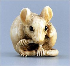 """""""a rat licking its tail"""" by Masanao of Kyoto (active around 1781), Japan, mid- to late 18th century. Stained ivory and horn (Museum of Fine Arts, Boston)"""
