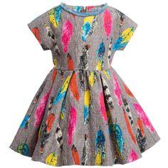 Mi Mi Sol Girls Grey Dress with Neon Feather Print at Childrensalon.com