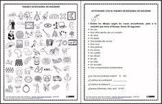 MATERIALES - Tableros de imágenes y actividades.    La actividad se centra en un tablero lleno de pictogramas y una serie de instrucciones a seguir para que los alumnos encuentren imágenes según los nombres o descripciones que se les dan en listas, se trabaja por tiempo.     Ayuda para comprensión lectora, atención, etc.    http://arasaac.org/materiales.php?id_material=531    http://arasaac.org/materiales.php?id_material=681