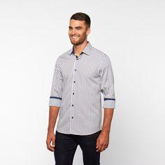 Candy Stripe Button-Down Shirt // Blue + Grey (S)