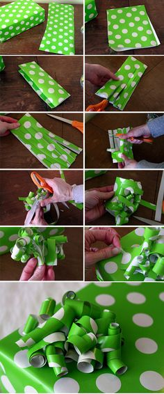 DIY curly ribbon bow, made with wrapping paper.