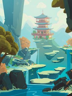 Ideas For Concept Art Environment Temple Landscape Illustration, Illustration Art, Illustrations, Fantasy Art Landscapes, Landscape Art, Kunst Inspo, Art Inspo, Animation Background, Art Background
