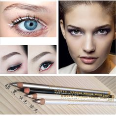 Only $0.68 , 1PC Brand New Makeup Tool Kit Cheap 4 Color Waterproof Long-lasting White Silver Black Glitter Eyeliner Pencil Pen delineador
