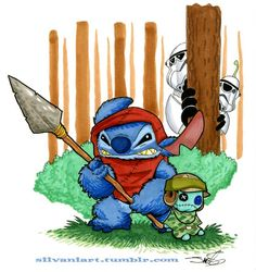 Stitch as Ewok Jumbba & Plickly as Stormtoopers Lilo Stitch, Disney Stitch, Disney Jokes, Disney Fun, Disney Stuff, Ohana, Star Wars Characters, Cartoon Characters, Stitch Drawing