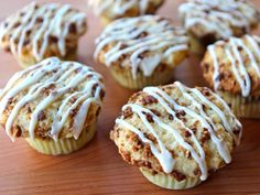 Recipe for Coffee Cake Cupcakes, delicious miniature sour cream coffee cakes decorated with a vanilla icing glaze. Kosher, dairy.