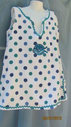 Pool Beach Cover Up Aline Dress Terry ClothBlue Polka by hammies, $14.00