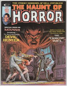 """The Haunt Of Horror Magazine #2: July 1974, NM, Earl Norem """"Gabriel"""" cover artwork, Origin and 1st Gabriel: Devil Hunter, Gene Colan artwork, Satana text story with illustrations by Pablo Marcos, Satana by Conway & Enrique Romero, article on The Exorcist with photos, Part 1 of a roundtable discussion of The Exorcist with Marvel staffers including writers Chris Claremont, Marv Wolfman, Gerry Conway, Steve Gerber, Don McGregor, and Len Wein."""