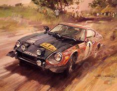 Nissan, Speed Art, Datsun 240z, Cult, Car Illustration, Car Posters, Motorcycle Art, Car Drawings, Automotive Art