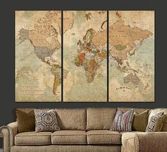 Push Pin World Travel Map with Current Countries, Gallery Wrapped Canvas makes a statement on any home or office wall. Beautiful vintage earth-toned canvas set will blend with most decors. Largest size (as shown in main photo) is more than 6 ft. wide and 4 feet tall! Super Clarity with Excellent Up-to-Date Country Details. Special backing under canvas ensures your pins will stick and stay intact. Canvas comes with Legend on right panel & quote on left panel. Although this push pin version...