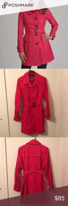 Tommy Hilfiger Hot Pink Trench Coat Tommy Hilfiger Hot Pink Trench Coat, brand new never worn trench coat with belt, sleeve buckles, real pockets, and brown buttons. It also has a inside pocket size small. Tommy Hilfiger Jackets & Coats Trench Coats