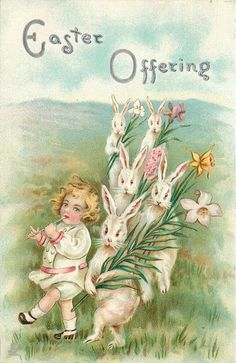 EASTER OFFERING  girl walks left, playing flute beside white rabbits carrying lilies