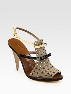 Fendi Hemp, Metallic Leather and Patent Leather Sandals