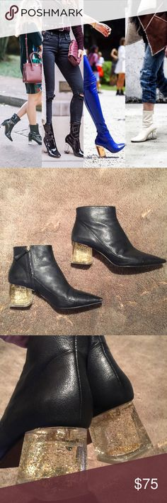 """Lucite Heel Booties Zara Black Leather Booties 