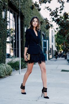 tuxedo blazer with fur skirt and ankle strap sandals