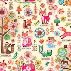 SPX Fabrics/Friendly Forest - BAVLNA - Veselý zvířátkový les