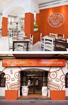 Restaurante Mexicano El Delirio Mexican Restaurant Design, Logo Restaurant, Retail Interior, Cafe Interior, Menu Design, Cafe Design, Bar Mexicano, Mexican Kitchens, Mexican Designs
